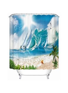Yachting and Board Sailing Print 3D Bathroom Shower Curtain