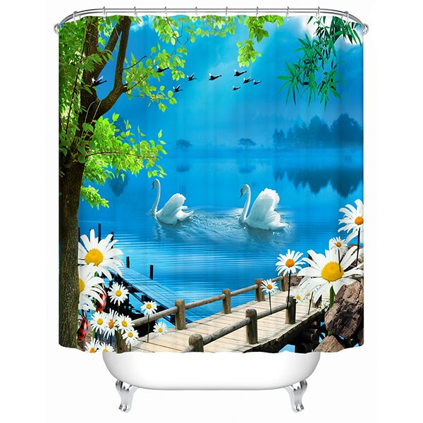 Couple White Swan Playing Under the Bridge Print 3D Bathroom Shower Curtain