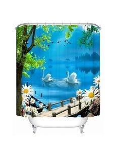 Couple White Swan Playing Under the Bridge Print 3D Bathroom Shower Curtain