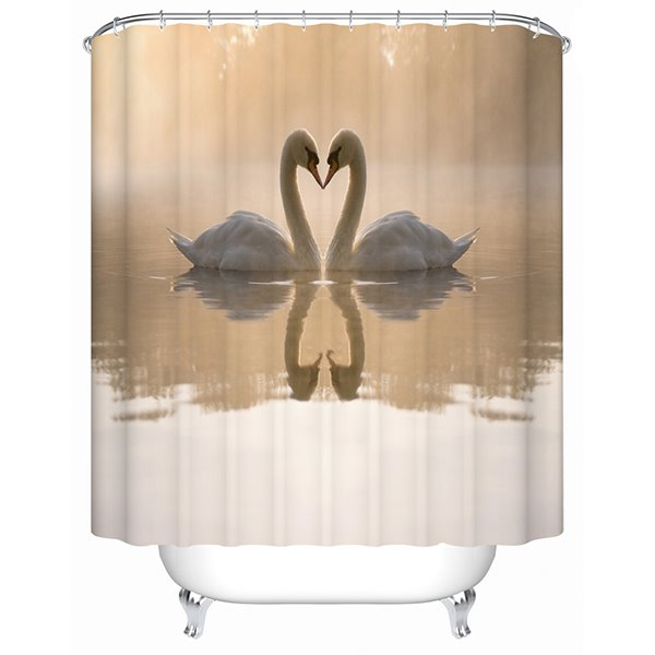 Couple Lovely White Swan Print 3D Bathroom Shower Curtain