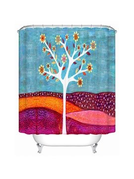 Cartoon Flower Tree Print 3D Bathroom Shower Curtain