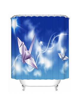 White Paper Cranes Print 3D Bathroom Shower Curtain