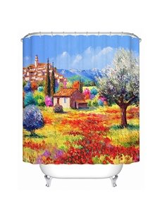 The View of the Town in Fall Oil Painting Print 3D Bathroom Shower Curtain