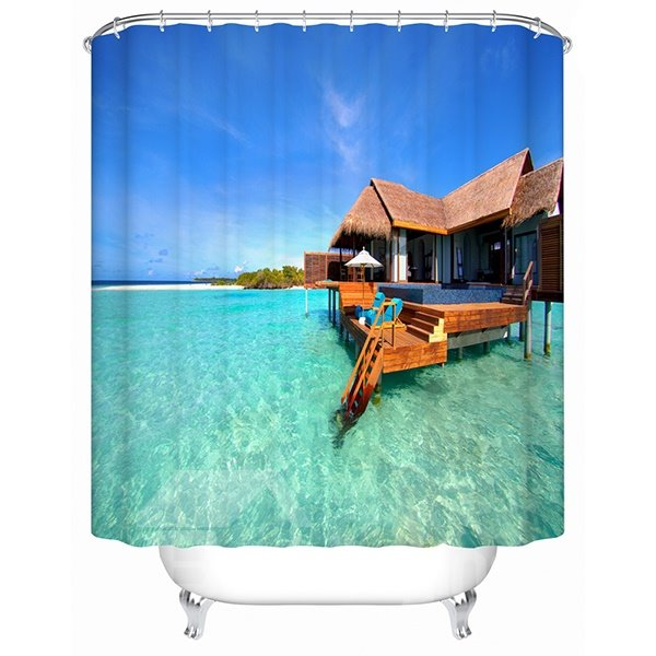 The Wooden House near the Lake Print 3D Bathroom Shower Curtain