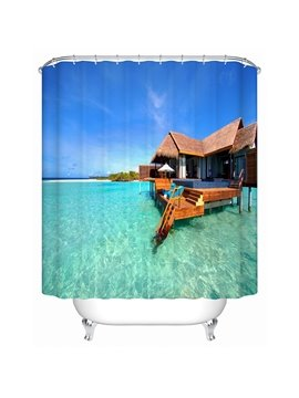The Wooden House near the Lake Print 3D Bathroom Shower Curtain