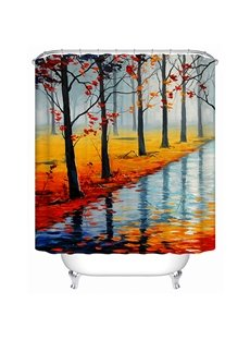 Riverside Oil Painting Print 3D Bathroom Shower Curtain