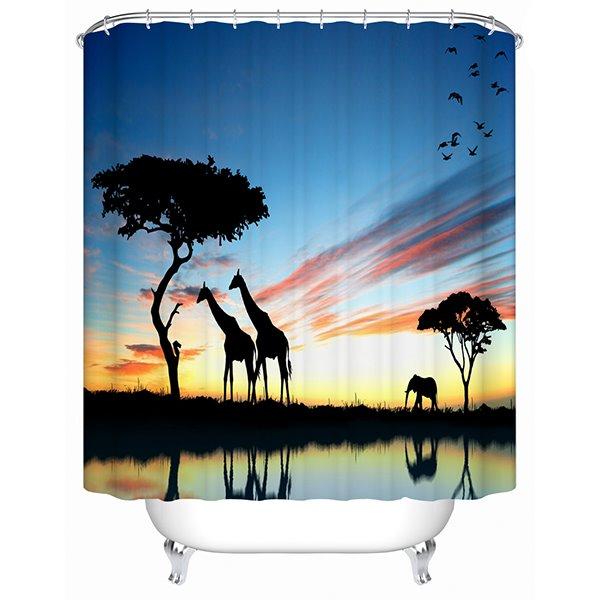 Giraffe on the Sunset Print 3D Bathroom Shower Curtain