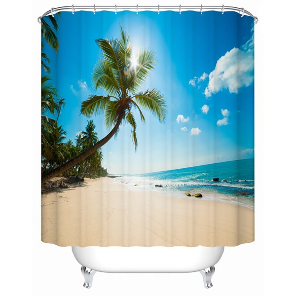 Beautiful Beach And Coconut Tree Print 3D Bathroom Shower
