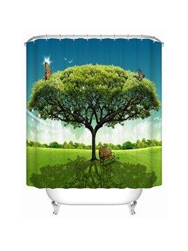 Huge Green Tree Print 3D Bathroom Shower Curtain