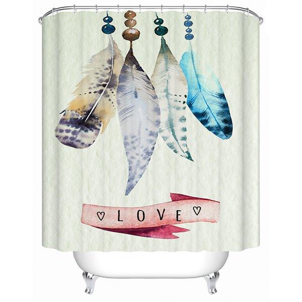 Cute Feathers Handicrafts 3D Bathroom Shower Curtain