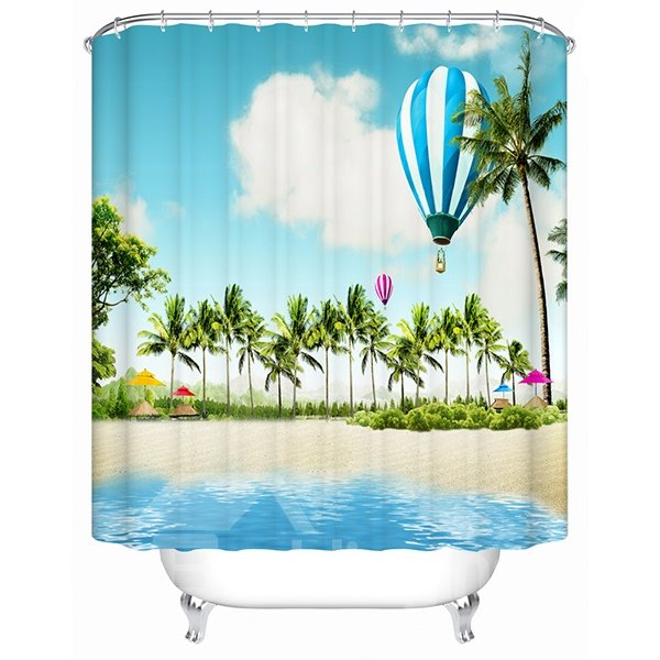 Cool Beach Scene Print 3D Bathroom Shower Curtain