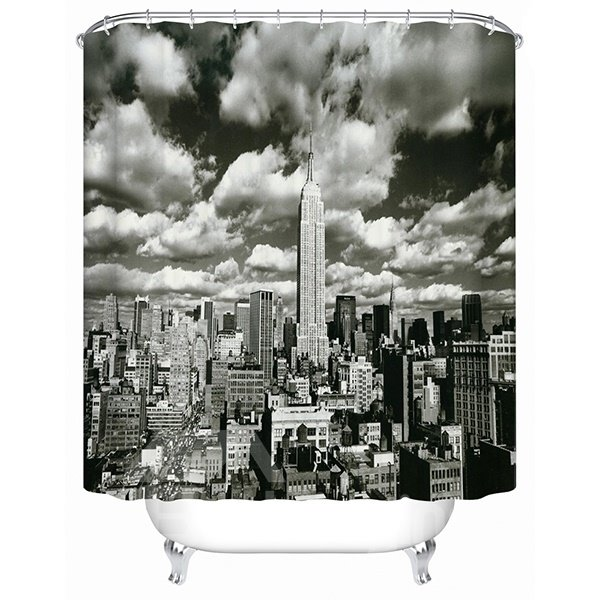 Black Empire State Building Print 3D Bathroom Shower Curtain