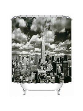 Black Empire State Building Print 3D Bathroom Shower Curtain