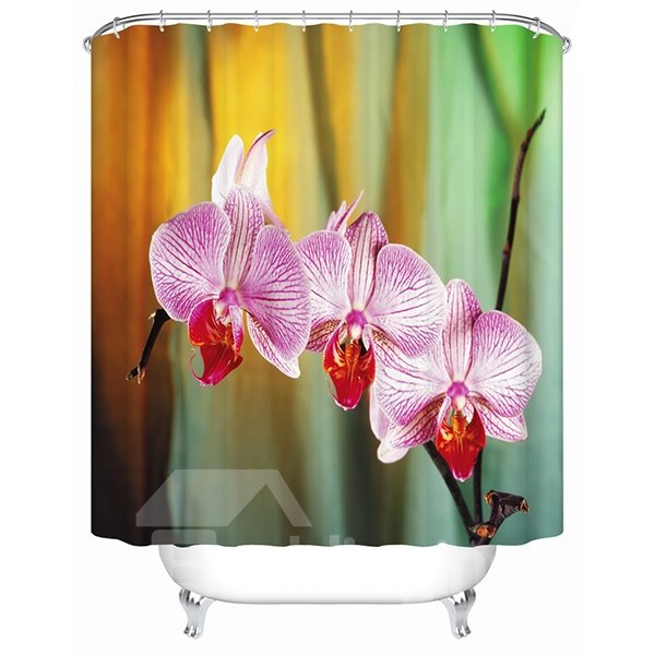 Pink Phalaenopsis Print 3D Bathroom Shower Curtain