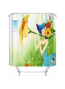 Cartoon Girl Playing the Trumpet Flower Print 3D Bathroom Shower Curtain