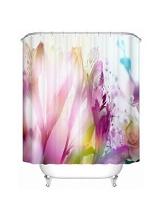 Gorgeous Pink Lilies Print 3D Bathroom Shower Curtain