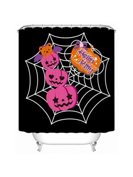 Halloween Pumpkins Hanging on the Web Print 3D Bathroom Shower Curtain