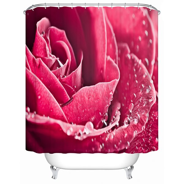 A Pink Rose Blooming Print 3D Bathroom Shower Curtain
