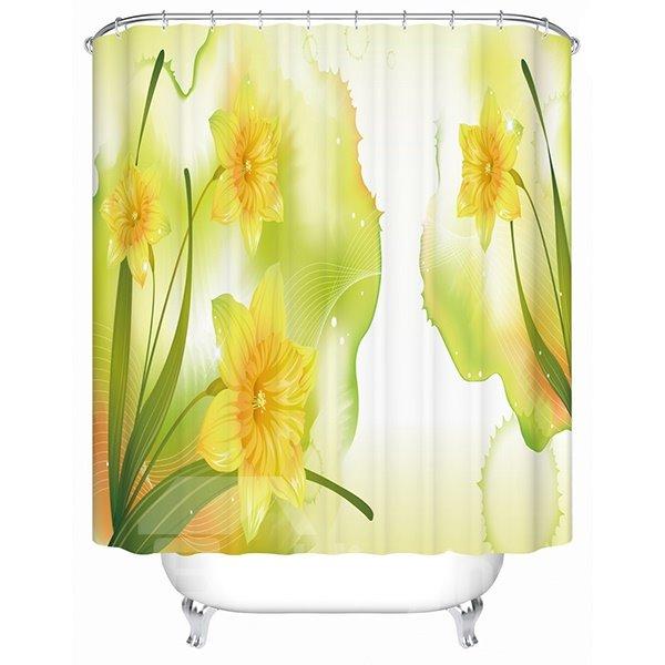 Cartoon Morning Glories Blooming Print 3D Bathroom Shower Curtain