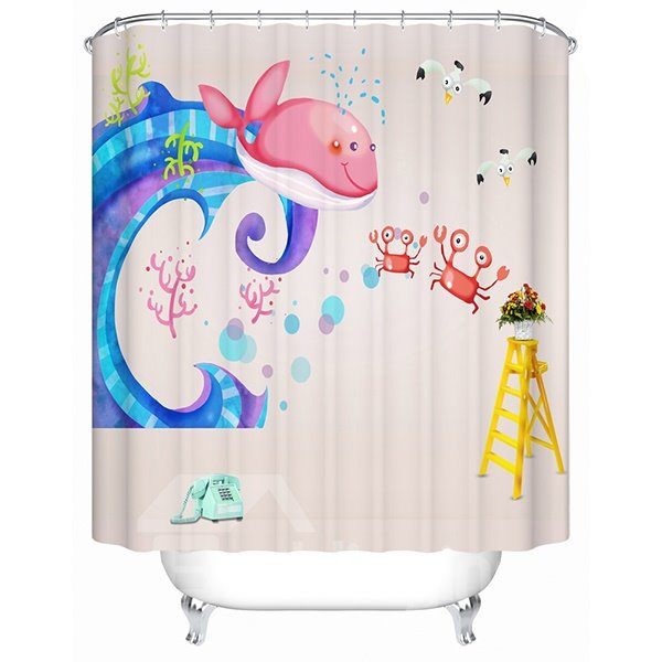 Cartoon Pink Whale and Red Crabs Print 3D Bathroom Shower Curtain