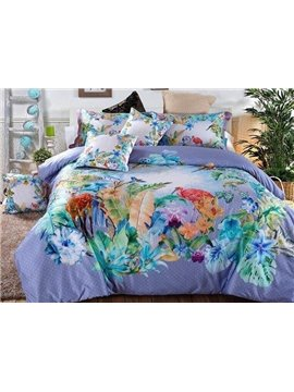 Elegant Purple Tropical Style Flowers 4-Piece Cotton Duvet Cover Sets