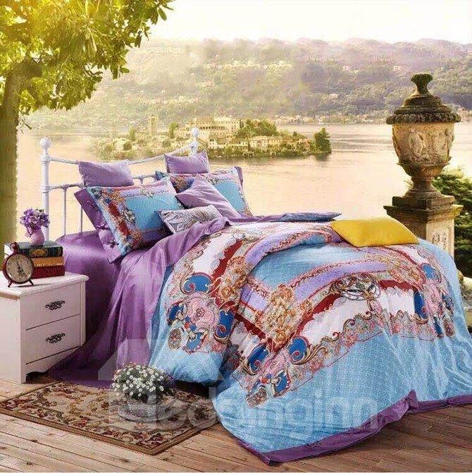 Noble Court Style Sky Blue 4-Piece Cotton Duvet Cover Sets