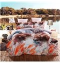 Idyllic Suburban Vision Print 4-Piece Cotton Duvet Cover Sets