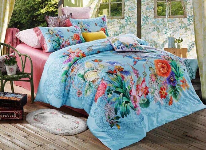 Beautiful Tropical Style Flower Print 4-Piece Cotton Duvet Cover Sets