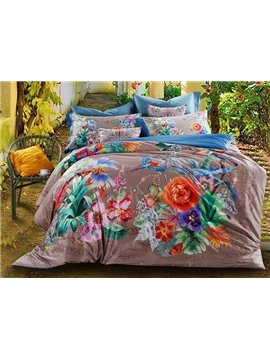 Tropical Style Plants Print 4-Piece Cotton Duvet Cover Sets