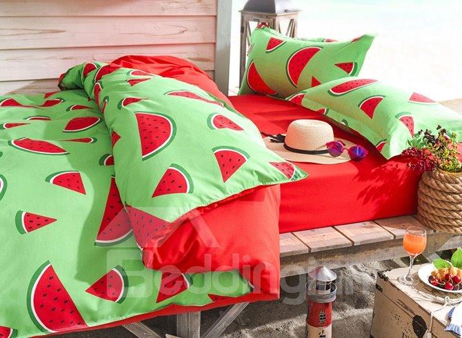 Fresh Watermelon Print Polyester 4-Piece Duvet Cover Sets