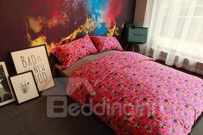 Lovely Owl Reactive Printing Red 4-Piece Cotton Bedding Sets
