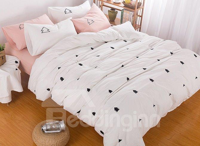 Minimalist Fir Tree Embroidered 6-Piece Cotton Bedding Sets