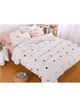 Minimalist Fir Tree Embroidered 6-Piece Cotton Bedding Sets