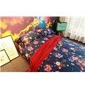 Vintage French Flower Navy Blue 4-Piece Cotton Bedding Sets