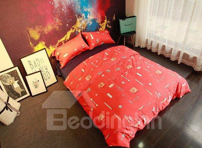 Unique Sewing Supplies Print Dark Orange 4-Piece Cotton Bedding Sets