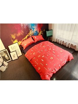 Unique Sewing Supplies Print Dark Orange 4-Piece Cotton Bedding Sets