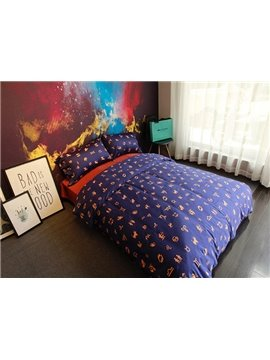 Cool Zodiac Sign Print Purple 4-Piece Cotton Bedding Sets