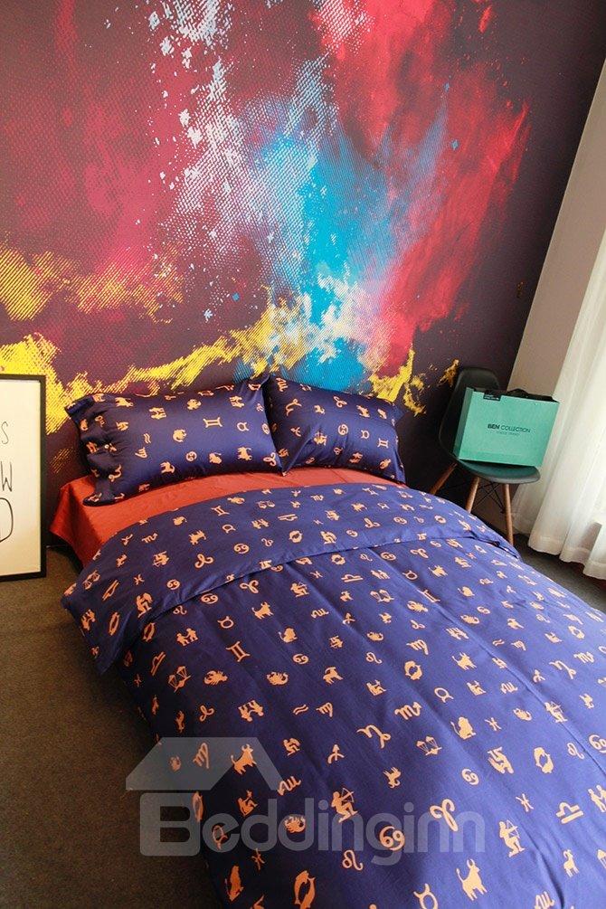 Cool Zodiac Sign Print Purple 4-Piece Cotton Bedding Sets