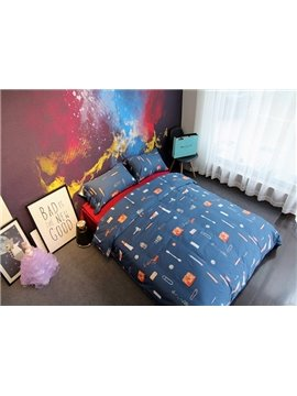 Creative Sewing Supplies Print Dark Blue 4-Piece Cotton Bedding Sets