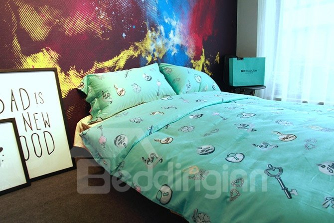 Chic Heart-shape Key Design Turquoise 4-Piece Cotton Bedding Sets
