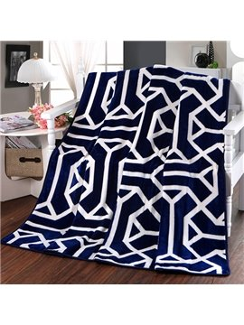 Modern Abstract Stripes Dark Blue Polyester Blanket