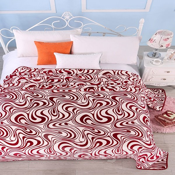 Unique Esthetical Abstract Stripes Print Polyester Blanket