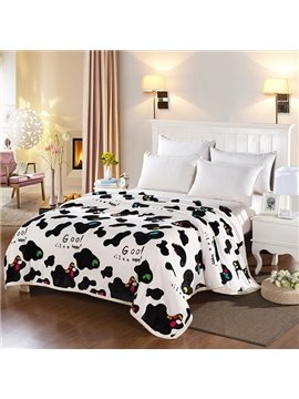 Faddish Super Soft Cow Pattern Polyester Blanket
