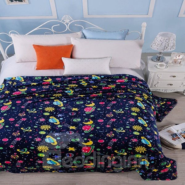 Super Soft Adorable Cartoon Planets Print Polyester Blanket