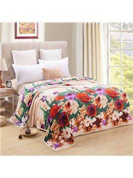 Lovely Red Rose and Butterfly Polyester Blanket