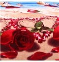 Excellent Seascape and Red Rose Print Polyester Blanket