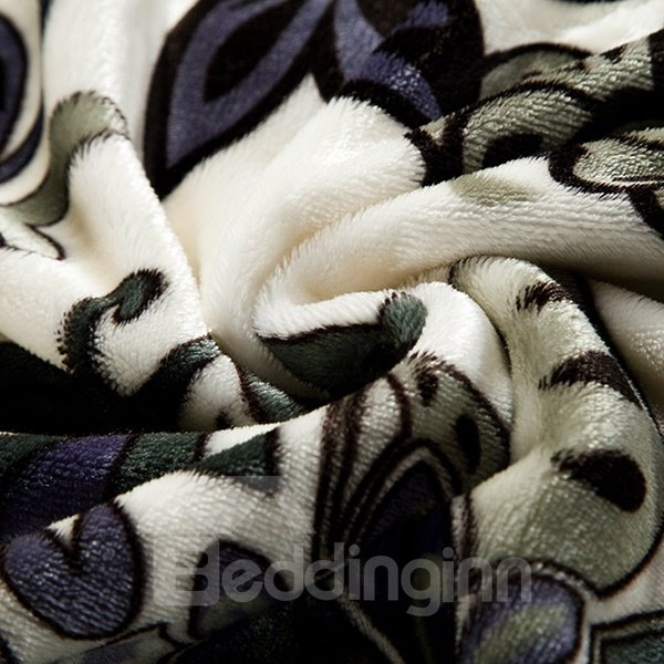 Unique Black Flower and Leaves Print Comfortable Polyester Blanket