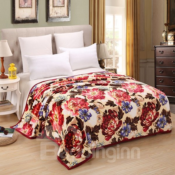Fancy Red and Purple Peony Print Polyester Blanket
