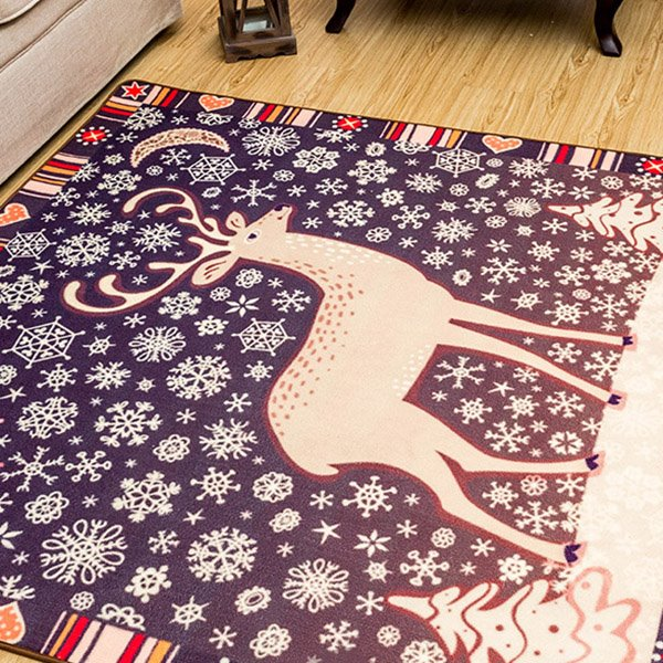 Purple Square Polyester Fibre Deer Pattern Area Rug
