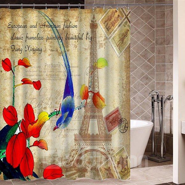 Blue Thrush in Paris Pattern Retro Poster Print 3D Bathroom Shower Curtain